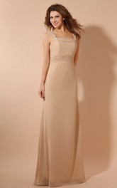 Elegant Chiffon Floor-Length Dress With Cape and Ruching Waist