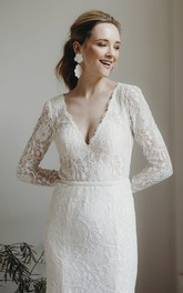 Plunging V-neck Sexy Sheath Lace Long Sleeve Wedding Dress With Keyhole Back