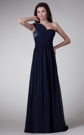 Chiffon A-Line Floor-Length One-Shoulder Dress With Crystal Detailing