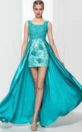 Square Neck Appliques Beading High Low Prom Dress