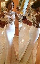 Mermaid High Neck Satin Applique Sleeveless Sweep Train Wedding Dresses