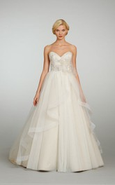 Magnificent Sweetheart Organza Ball Gown With Beaded Bodice