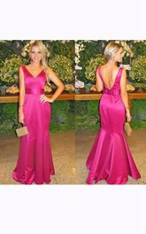 Trumpet Floor-length Backless Satin Dress