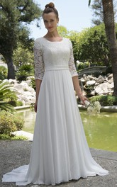 Informal Modest Beach Scoop Neck Lace Chiffon Wedding Dress With 3-4 Sleeves