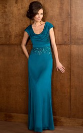 Cap-Sleeved Long Mother Of The Bride Dress With Sequins And Draped Neckline