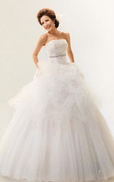 Elegant Strapless Jeweled Ball Gown With Corset Back and Tulle Overlay