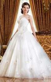 Ball Gown Floor-Length Sweetheart Sleeveless Tulle Dress With Beading And Flower