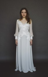 Long Poet Sleeve Split Chiffon Wedding Gown With V-neck And Lace Appliques