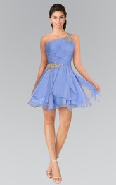 A-Line Short One-Shoulder Sleeveless Chiffon Dress With Beading And Ruching