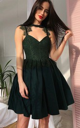 A-line Sleeveless Chiffon Lace High Neck V-neck Short Mini Homecoming Dress