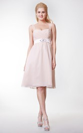 Cute Knee Length Spaghetti Straps Chiffon A-line Dress With Bow