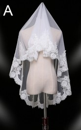 New Short Lace Applique Simple And Beautiful Bride Veil