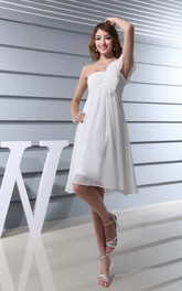 Asymmetrical Chiffon Midi Dress With Ruching and Single Strap