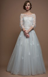 A-Line 3-4-Sleeve Appliqued Floor-Length Bateau-Neck Tulle Wedding Dress