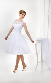 Tea Length A-Line Short Sleeve Tulle Gown With Lace Bodice