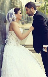 Delicate Sweetheart Lace Tulle Wedding Dress Ball Gown Beadings