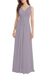 V-neck Ruched Chiffon Long Dress