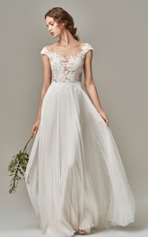 Elegant Bateau Chiffon Lace A Line Short Sleeve Floor-length Wedding Dress with Appliques