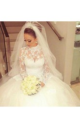 High Collar A Line Modest Princess Appliques Long Sleeve Lace Bridal Gown