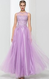 Scoop Neck Appliques Beading Long Prom Dress