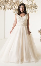 A-Line Floor-Length V-Neck Sleeveless Tulle Court Train Illusion Beading Dress
