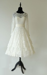 Tea-Length Bateau Neck Long Sleeve Lace Dress With Sash