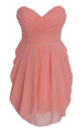 Exquisite Sweetheart Drapped Short Dress With Zipper Back