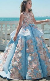 Floral Bateau Sleeveless Ruched Ball Gown Flower Girl Dress