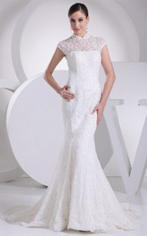 Lace Pleated Mermaid Sweep Train and Dress With Illusion Neckline