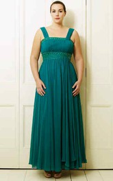 A-Line Strapped Beaded Ankle-Length Sleeveless Chiffon Plus Size Prom Dress With Pleats