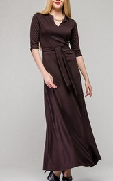 V Neck Half Sleeve A-line Pleated Jersey Ankle Length Dress With Sash
