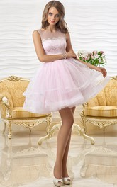 A Line Lace Short Mini Sleeveless Scoop Neck Tulle Prom Dress With Tiers