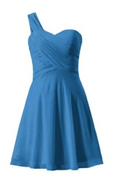 One-shoulder Ruched Bodice Knee-lengh Layered Chiffon Dress