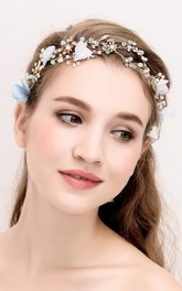 Handmade Aesthetic Blue And White Flowers Vine Pearl Rhinestone Bridal Hair Band