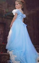 Flower Girl Off-the-shoulder Tulle Ball Gown With Puff Sleeve