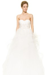 Long Sweetheart Organza Ball Gown With Ruffles and Beading