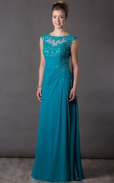 Appliqued Top Cap Sleeve A-Line Chiffon Long Mother Of The Bride Dress With Sequin Details