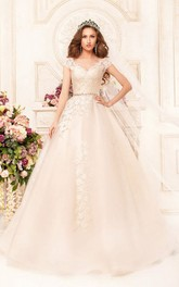 Ball Gown Floor-Length V-Neck Cap-Sleeve Illusion Lace Dress With Appliques And Waist Jewellery
