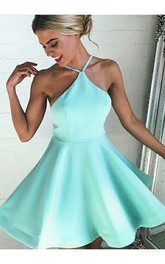A-line Sleeveless Satin Halter Short Mini Homecoming Dress