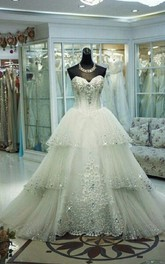 Glamorous Three Layers Tulle Wedding Dress Sequins Beadings
