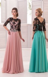 A-Line Floor-Length Sweep High-Neck Half Sleeve Chiffon Beading Lace Low-V Back Dress