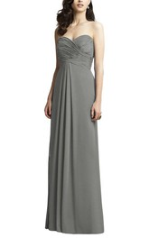 Ruched Criss-cross Long Chiffon Dress