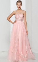 Sweetheart Appliques Beading Pink Prom Dress