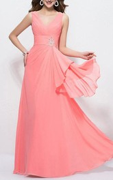 Stylish V-Neck A-Line Beading Zipper-up Floor Length Prom Dress