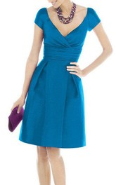 Cap Sleeve V-neck Short Satin Dress with Pleats