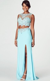 Beaded Bateau Neck Sleeveless Jersey Prom Dress