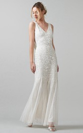 Sheath Sleeveless V-Neck Pleated Floor-Length Sequins Wedding Dress With Low-V Back
