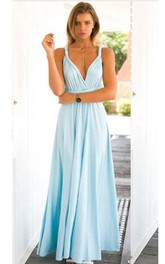 V Neck Spaghetti Straps Empire Pleated A-line Jersey Long Dress Criss-cross Back