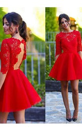 A-line Half Sleeve Satin Lace Jewel Scalloped Keyhole Short Mini Homecoming Dress