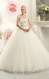 Ball Gown Long Sweetheart Sleeveless Tulle Dress With Beading And Criss Cross